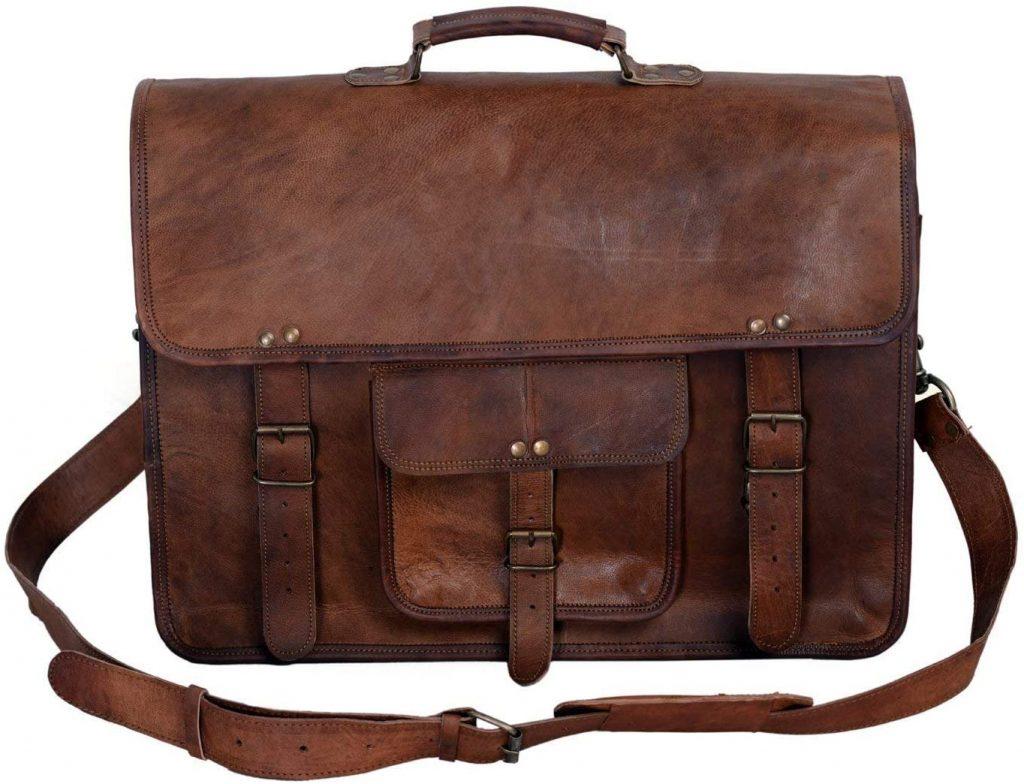 KPL Leather Briefcase/ Laptop Messenger Bag