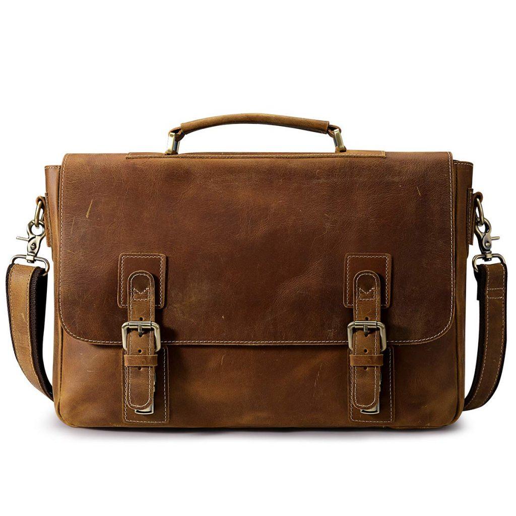 S-ZONE Men's Crazy Horse Leather Satchel Briefcase Shoulder Bag Messenger