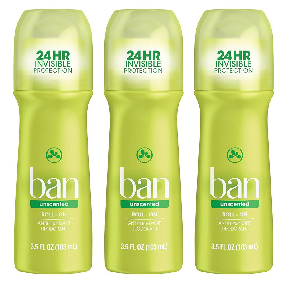 Ban Roll-On Antiperspirant Deodorant, Unscented (2-Pack)