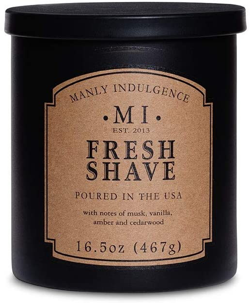 Manly Indulgence Fresh Shave Candle With Notes of Musk, Vanilla, Amber, and Cedarwood (16.5 Oz)