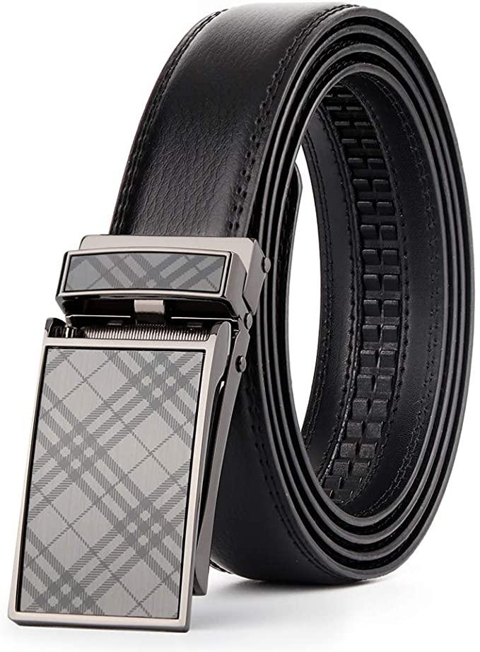 Brilliant Slide Ratchet Belt for Men with Genuine Leather