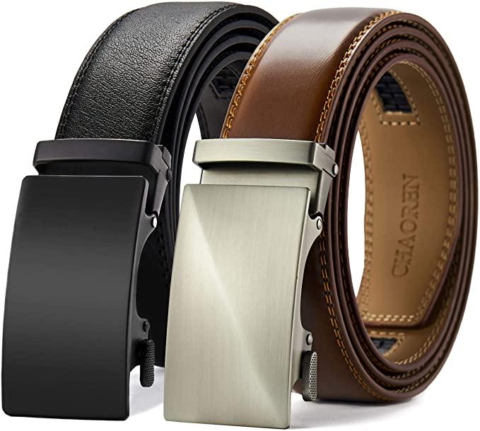Charoen Leather Ratchet Belt 2 Pack Dress with Click Sliding Buckle 1 3/8″