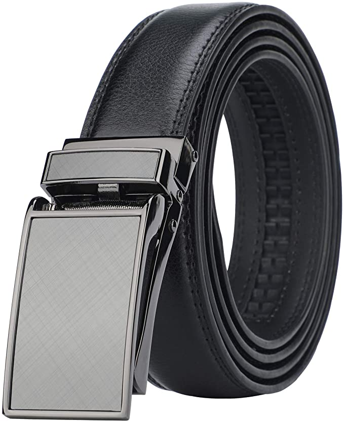 HMI Men's Comfort Genuine Leather Ratchet Dress Belt with Automatic Click Buckle