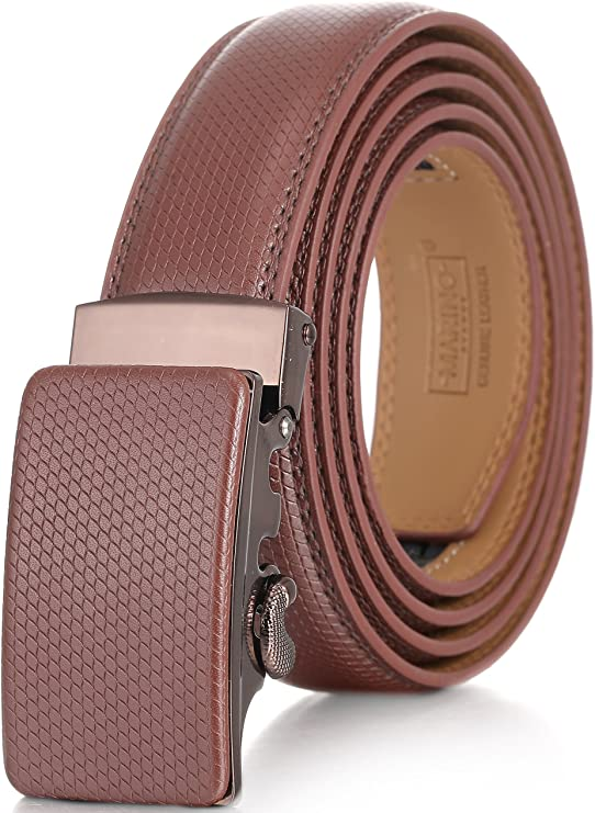 Marino Men's Genuine Leather Ratchet Dress Belt With Automatic Buckle