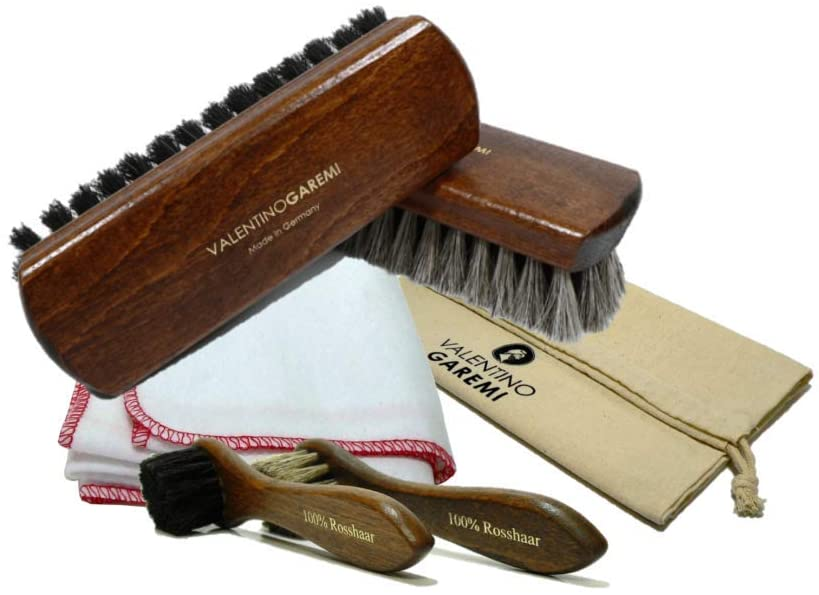 Valentino Garemi Set – 2 Polishing Brushes, Cloth, 2 Applicator Brushes