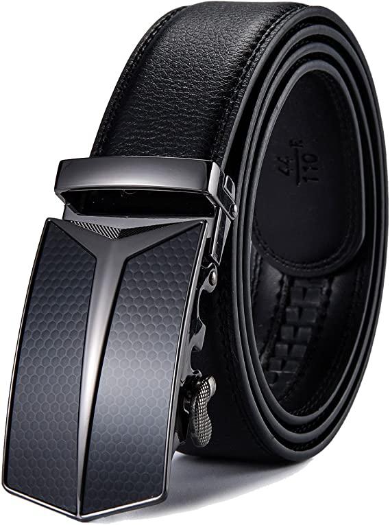 X XHtang Men's Ratchet Belt with Genuine Leather, Slide Belt for men