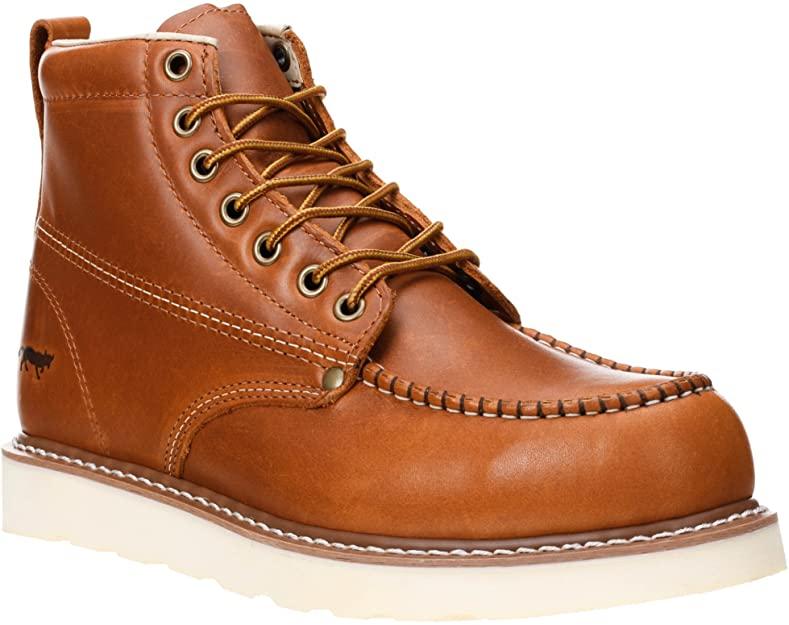 "Golden Fox Work Boots 6"" Men's Moc Toe Wedge Comfortable Boot for Construction"